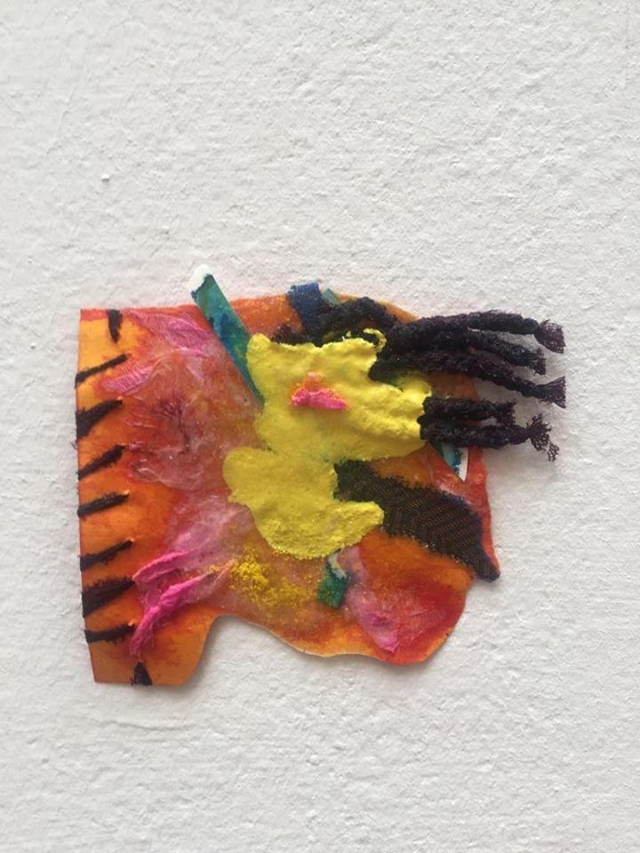Elisa Carreno - Wind- Papers, fabric, acrylic paint, ink , crayon powder and glitter, 15 x 13 cm, 2017. www.elicarreno.com   #art #arte #painting #paint #pintura #pintura #colagem #collage #elisacacrreno #artgallery #callforart