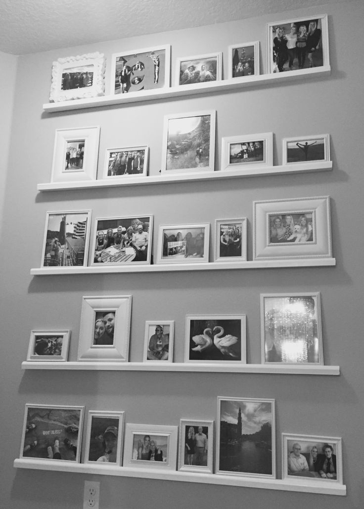Easy DIY Picture Frame Shelf Wall