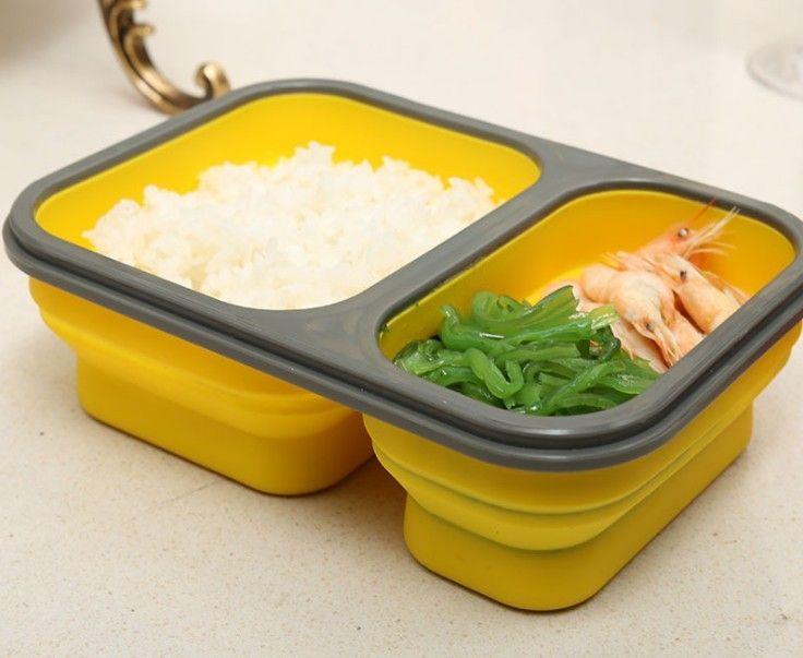 2 Células de Silicona Plegable Portable Bento Box 900 ml Microondas Horno Tazón Plegable de Almacenamiento de Alimentos Envase del Almuerzo Lonchera en Juegos de vajilla de Hogar y Jardín en AliExpress.com | Alibaba Group