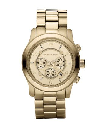 Golden Oversized Runway Watch by Michael Kors at Neiman Marcus. Father's Day...hmmm