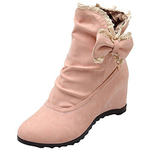 Women's Soft Material Round Closed Toe Solid Low-Top Kitten-Heels Boots Beige 5 B(M) US
