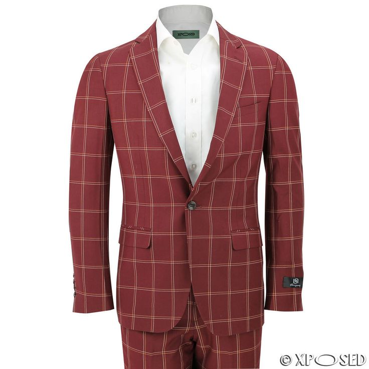 Men Large Windowpane Grid Check Slim Fit Maroon Suit Smart Casual Blazer Trouser