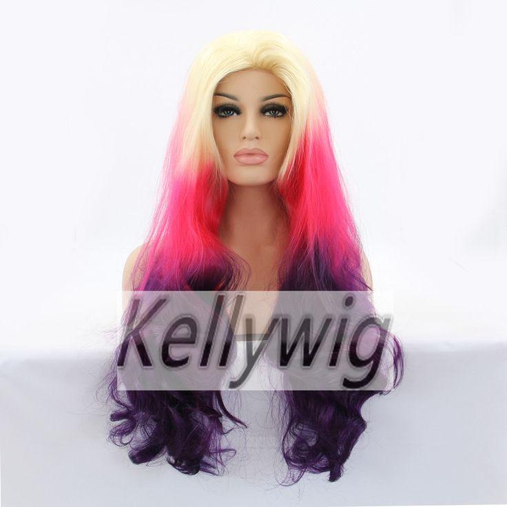 Бесплатный л . с . в сша на складе длина 16  - 28  фронта парик 3 тон цвет блондин / розовый / фиолетовый естественная волна жаропрочных волос Symthetic