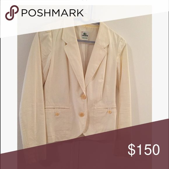 Lacoste Seersucker Blazer Lacoste Yellow/white Seersucker Blazer! Used only once! Great condition! Paired with blue denim jeans, white cami, and white strappy heels! European Size 34 is Size 2 US. ABSOLUTELY NO TRADES! Lacoste Jackets & Coats Blazers