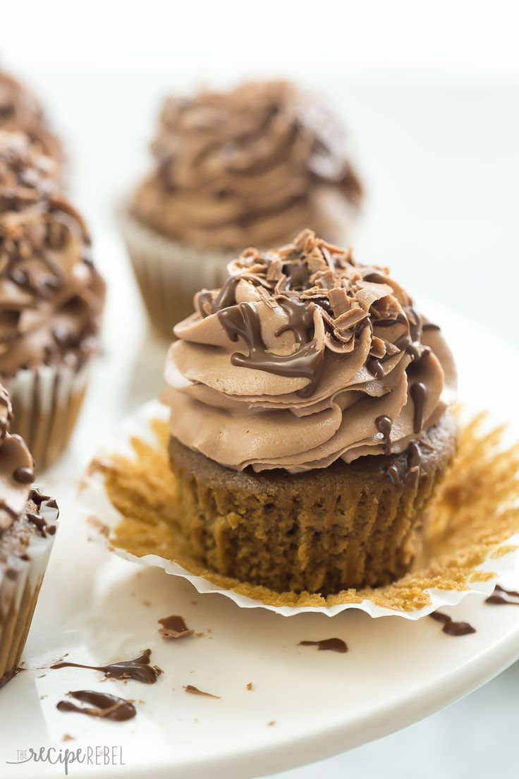 These Mocha Nutella Cupcakes are the perfect way to get your coffee fix! A moist coffee flavored cupcake topped with creamy Nutella frosting!: