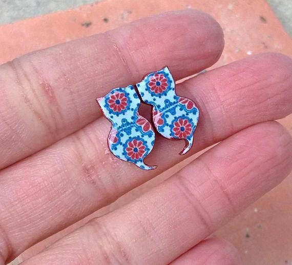 Mexican tiles cat earrings cat earrings cat jewelry Mexican