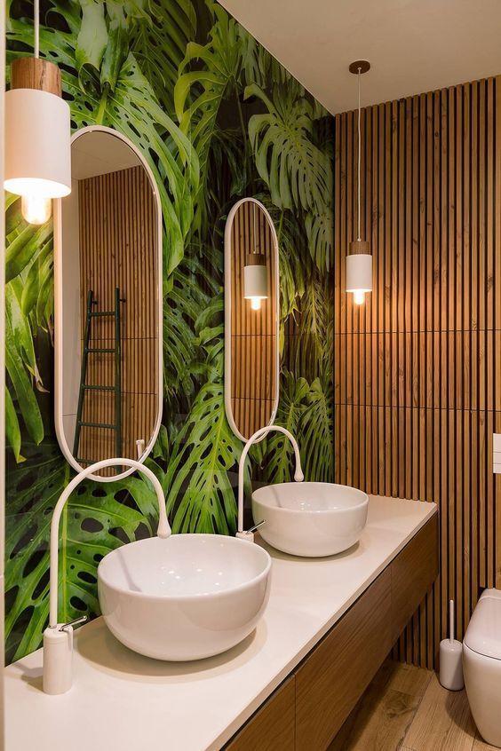 baño tema naturaleza bambú azulejo hoja grifo gota diseño – Blog …