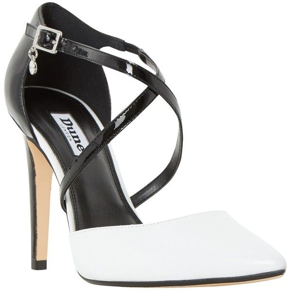 Dune Connie Two Part Pointed Toe Court Shoes , Black/White (1,895 MXN) ❤ liked on Polyvore featuring shoes, pumps, leather shoes, pointed toe high heel pumps, pointy-toe pumps, high heel pumps and flat shoes