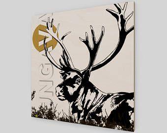 Collection Ungava: le caribou des bois. Peinture numérique originale imprimée sur bois.