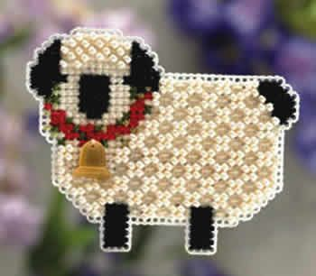 Little Lamb Spring Bouquet Kit (cross stitch & beads) from Nordic Needle Inc.