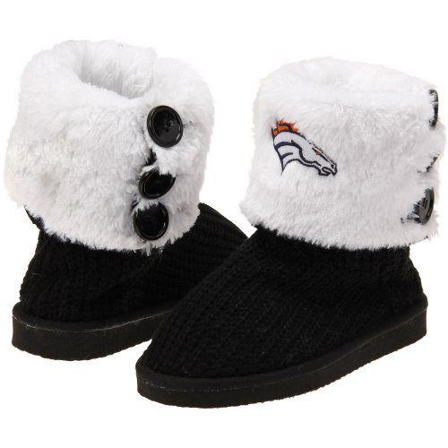 Denver Broncos Ladies Knit High-End Button Boot Slippers - Black