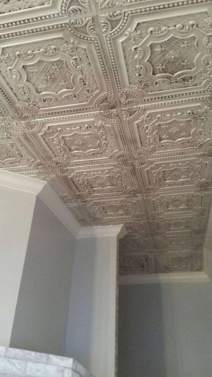 Tin ceiling tiles in kitchen - Elizabethan Shield Faux Tin Ceiling Tile 24 X24