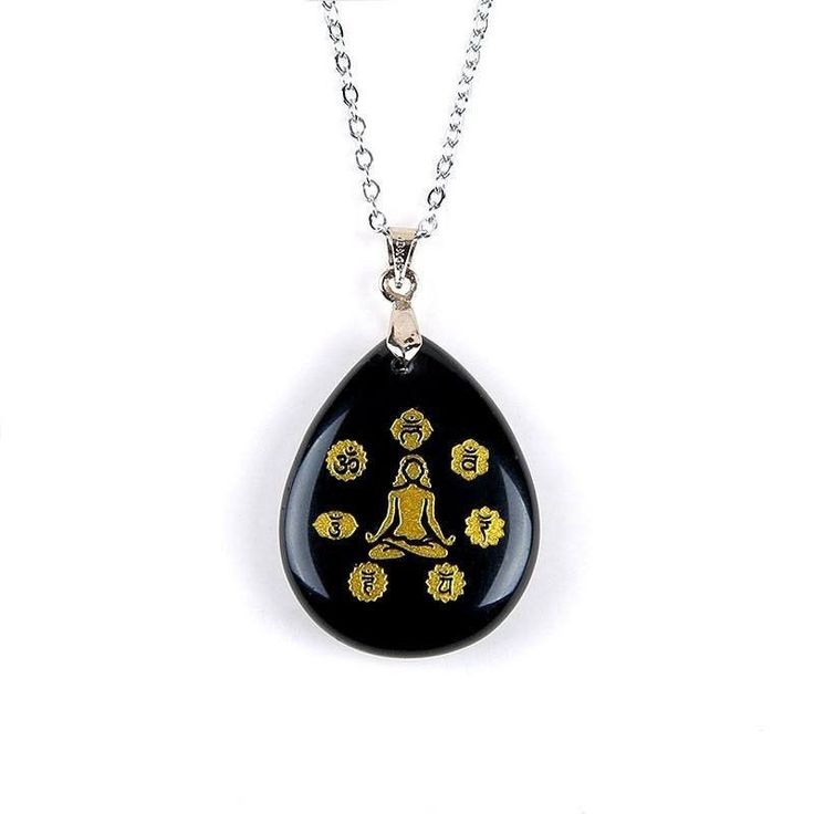 7 Chakras Black Tourmaline Stone Necklace