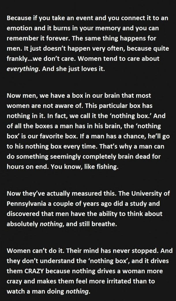 the difference between the thought process of men and women The differences between women and men are not only than in women this section of the brain is thought to control mental whereas women process language in.