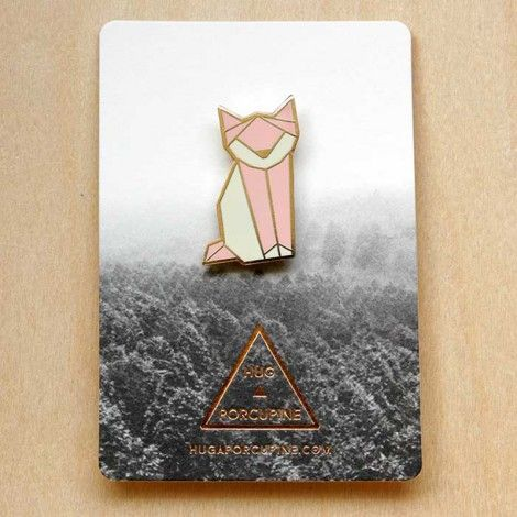 broche Chat origami by Hug a porcupine