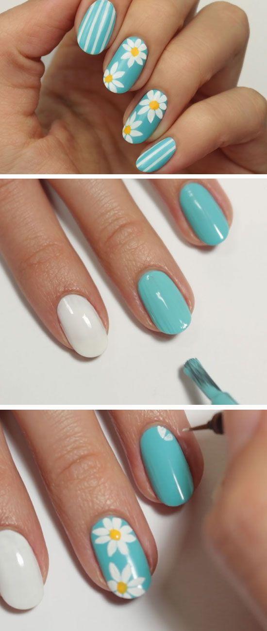 Margarita azul |  Diseño impresionante Nails resorte por las uñas cortas |  Fácil de Verano Ideas de decoración de uñas