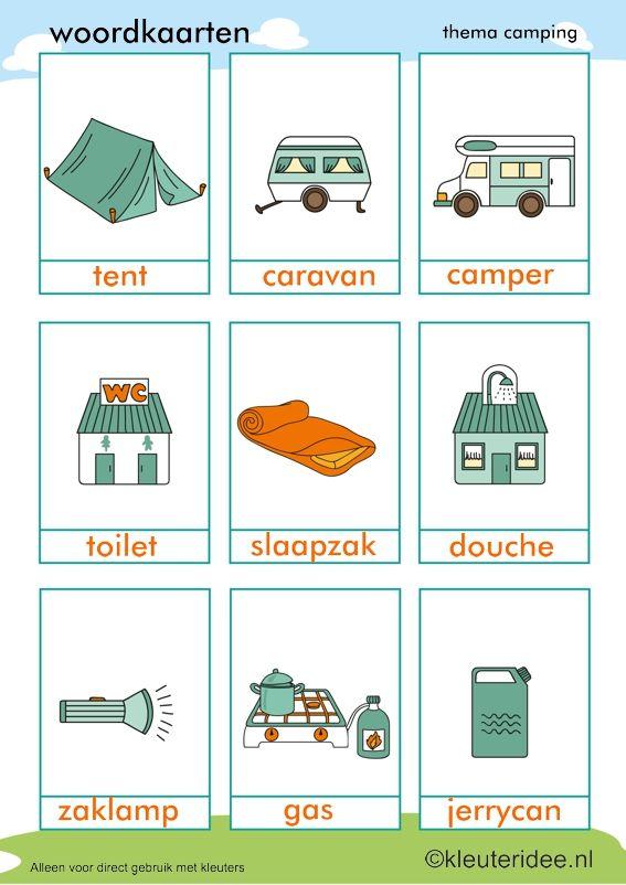 Woordkaarten voor kleuters, thema camping, kleuteridee, preschool camping theme.