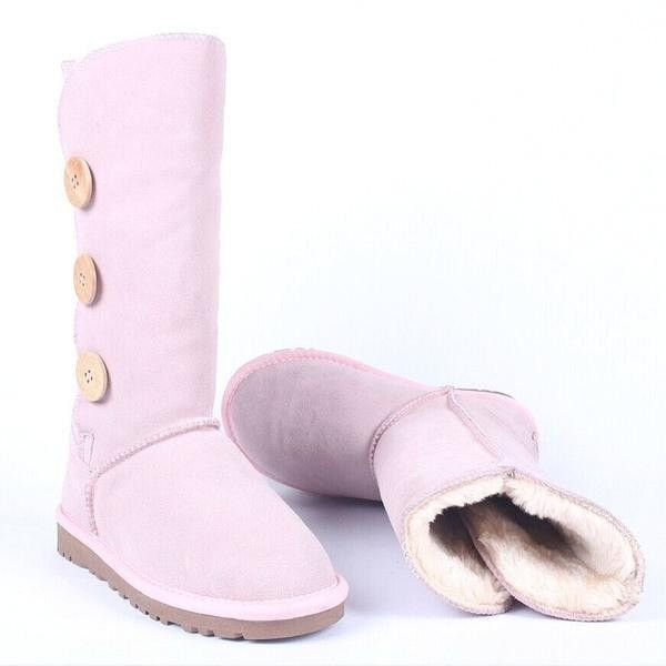 Genuine Leather Button Accent Fur-Lined Cozy Winter Snow Boots 7 Colors