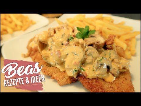 Schnitzel mit Pilzrahmsoße Rezept   Jägerschnitzel - Champignonrahmsauce kochen - Pommes - YouTube