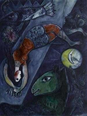 'Het blauwe circus', 1950 / Marc Chagall (1887-1985) / Musée National d'Art Moderne, Centre Georges Pompidou, Parijs, Frankrijk.