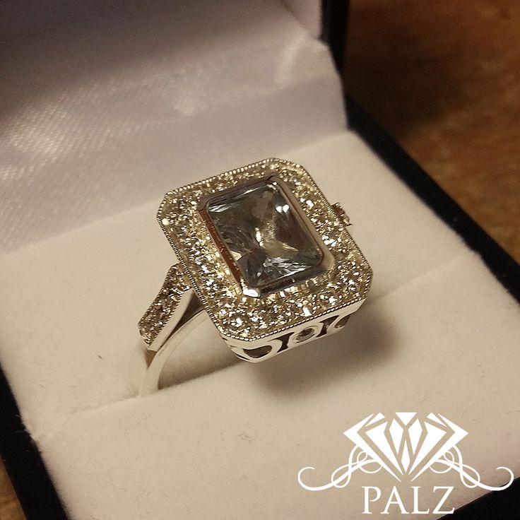 Silver octagon colour quartz ring