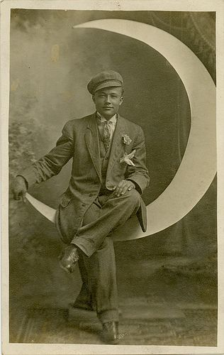 Dapper Young Man on a Paper Moon - Real Photo Postcard