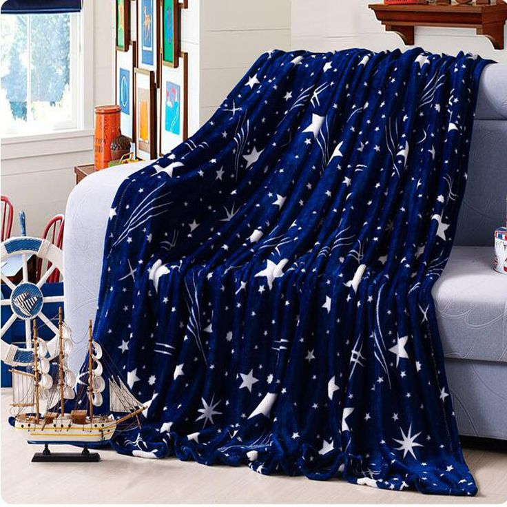 Высокая Плотность Супер Мягкой Фланелевой Одеяло на диван кровать текстиль милые плюшевые шерсть пушистая сине-зеленые звезды мальчиков одеяло