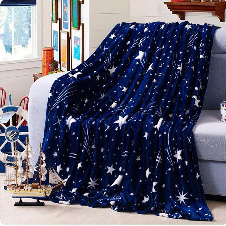 De alta Densidade Super Macio Cobertor de Flanela para on para o sofá têxteis de cama bonito lã de pelúcia fofo azul verde estrelas meninos cobertor