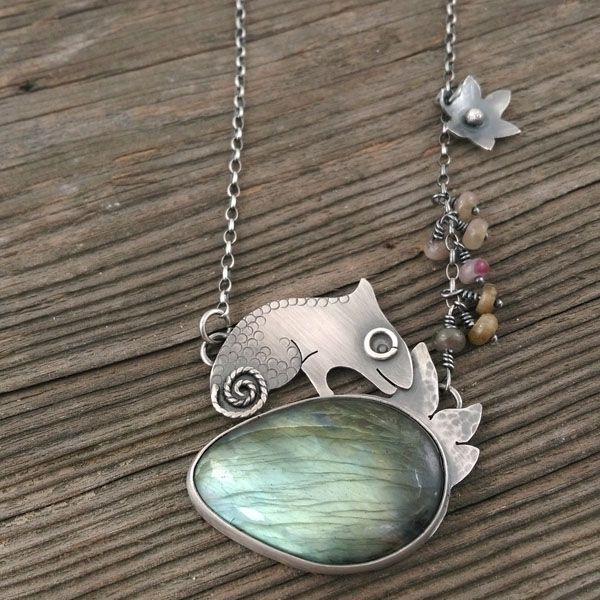 Chameleon on labradorite. Silver pendant.