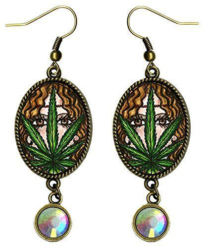 No matter your clothing style you can find marijuana clothing that celebrates your unique personality.  The materials, designs and types of clothing are endless.  Indeed anything from marijuana shirts,  marijuana leggings, marijuana costumes, marijuana jewelry, and marijuana fashion accessories.  Bohemian Marijuana Hemp Hippie Goddess Bronze Iridescent Rhinestone Earrings