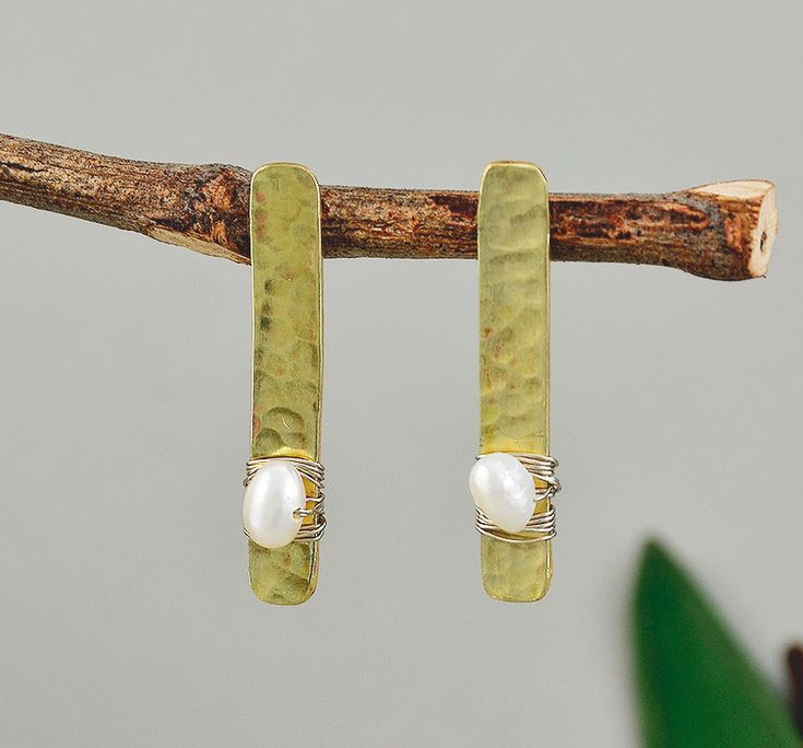 Pearl long studs, brass rectangle stud, hammered earrings, white pearl studs, gold tone studs, geometric earrings, contemporary studs by ColorLatinoJewelry on Etsy