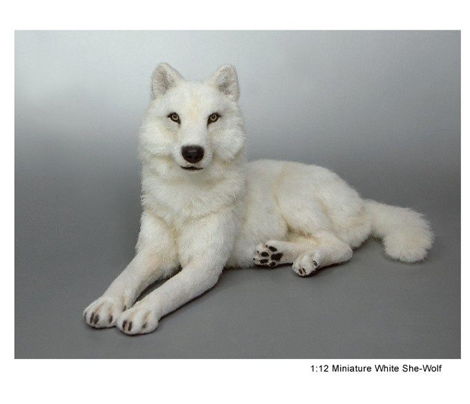 White She Wolf sculpture of clay & fibers by Kerri Pajutee