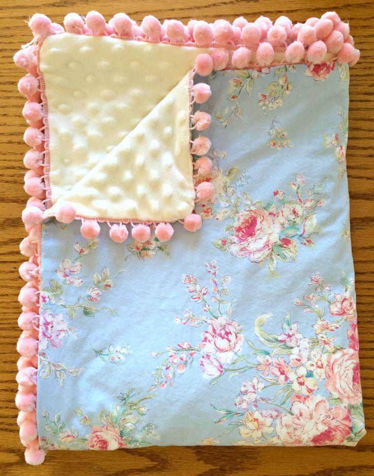 Baby Blanket - Shabby Chic Blue Floral & Ivory Minky - Pink Pom Pom Trim by SherbertLane on Etsy https://www.etsy.com/listing/195086917/baby-blanket-shabby-chic-blue-floral