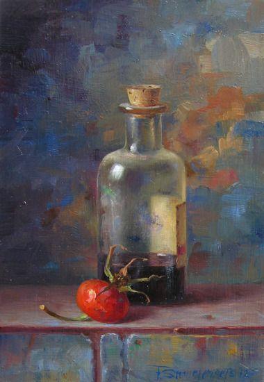 Fred Smoolenaers (Dutch, born 1951) flesje met rozenbottel