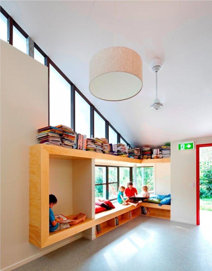 School interior library, reading nook built-ins
