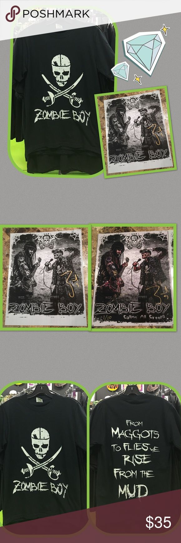 """💘Zombie Boy Bundle Zombie Boy as seen in """"born this way"""" video with Lady GaGa. He started a band with Riggs the original guitar player from Rob Zombie. Get a personalized signed 8x10 your choice color or black and white and a Zombie boy t-shirt in white or silver Shirts Tees - Short Sleeve"""