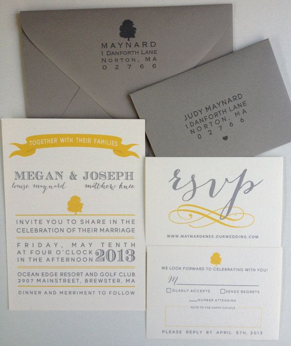 Grey and Yellow Wedding Invitation Suite by asensiblehabit on Etsy, $3.75