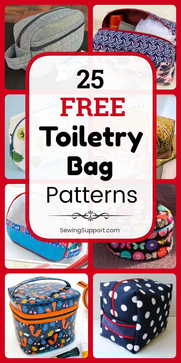 Bag DIY: 25 free samples for toiletry bags, DIY sewing projects and tutorials. Sew …   – Taschen + Täschchen nähen