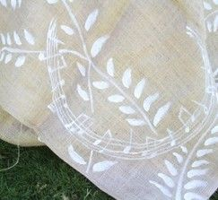 white paint on burlap for tablecloths