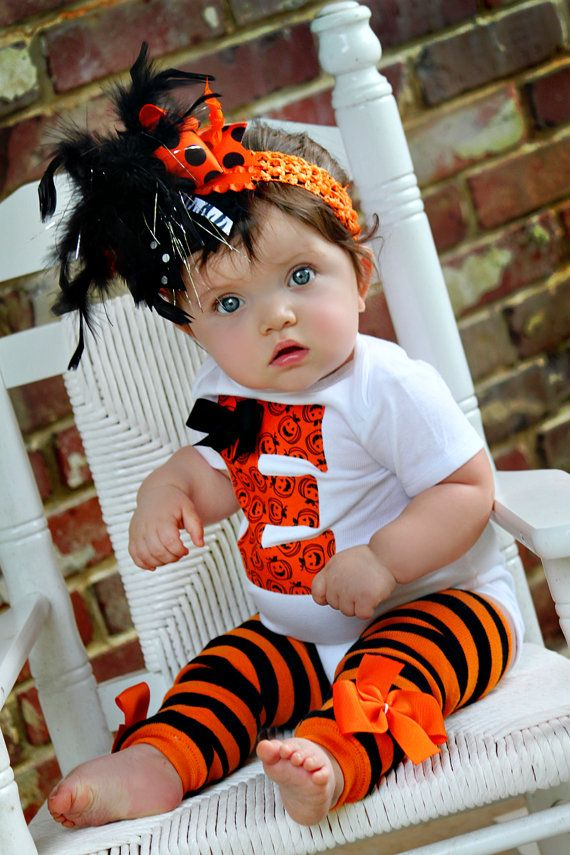 Baby Girl Halloween Outfit -- initial onesie, leg warmers and Over The Top bow -- black and orange on Etsy, $54.00 E for Ella! It's perfect!!
