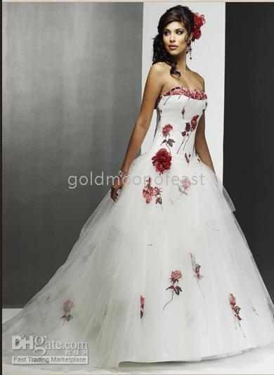 Lovely Brand New Sexy white red rose strapless court train tulle and Satin Wedding dress of bride MIC