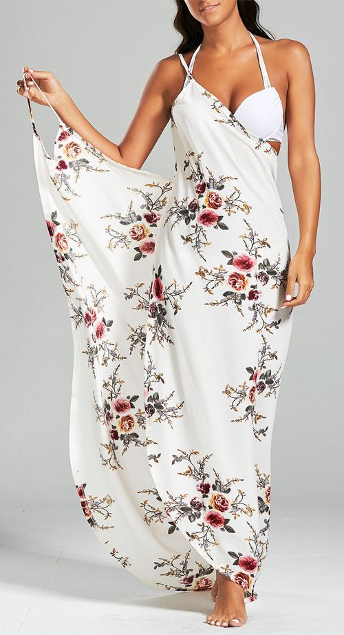 Convertible Chiffon Floral Sarong Wrap Cover Up Dress