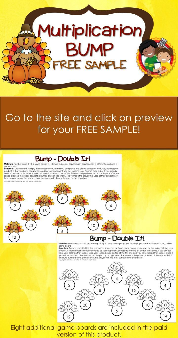 105 best exploring multiplication division images on pinterest for a free sample of a thanksgiving multiplication bump game go to the site and click gamestrikefo Choice Image