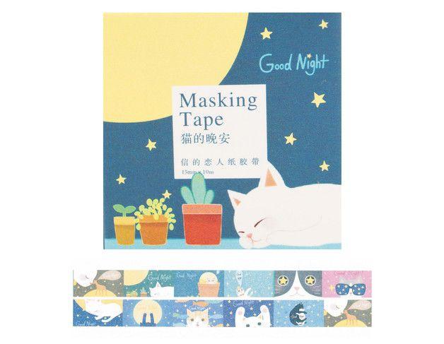 Bastelbedarf - Washi Tape GOOD NIGHT CAT T826 - ein Designerstück von Kunterbunte-Holzbude bei DaWanda