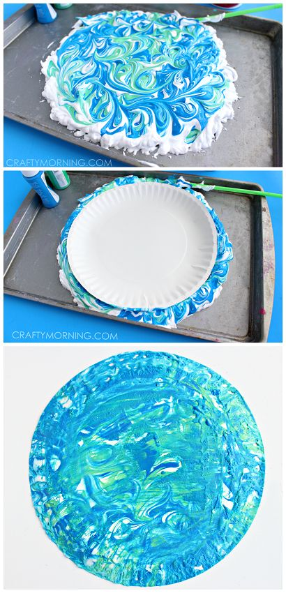 Shaving cream marbled Earth Day craft for kids to make! These paper plates look so awesome!