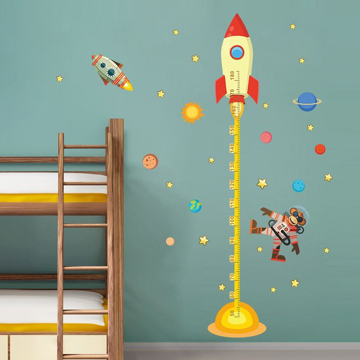 Diy Outer Space Planet Monkey Pilot Rocket Home Decal Height Measure Wall  Sticker For Kids Room