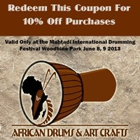#MIDF 2013 Afircan Drums & Arts Crafts 10% of Purchases with this Coupon! at Drum Fest Queens Park