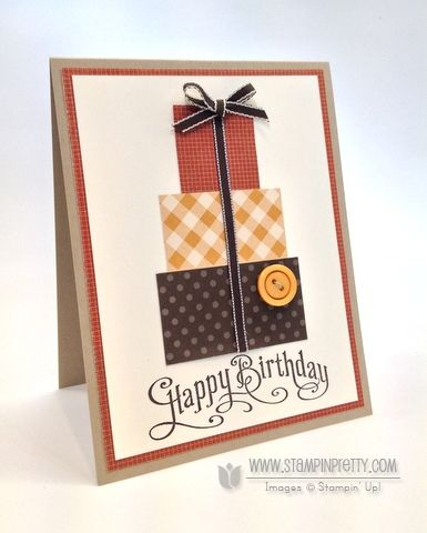 Nice masculine birthday card idea using square punches