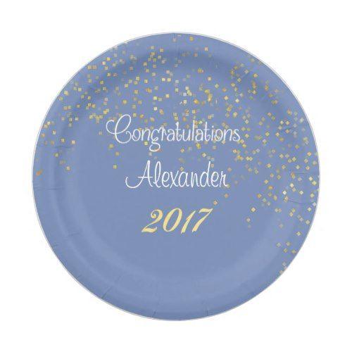 Graduation, Faux Gold Confetti, Custom Paper Plate