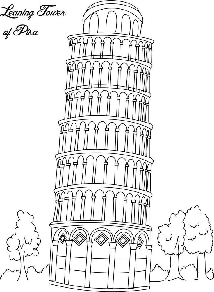 Collection of Landmarks Around The World Coloring Pages - Leaning Tower of Pisa Italy